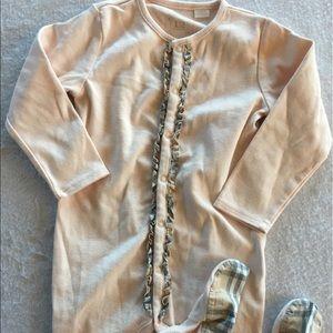 Burberry nova checked footed pajamas
